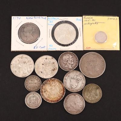 Thirteen Foreign Silver Coins