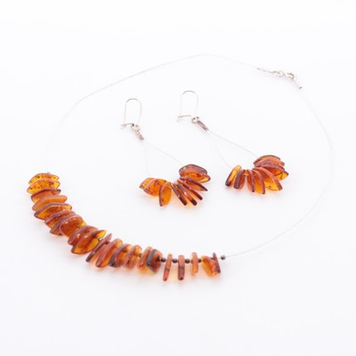 Sterling Silver Amber Necklace and Earrings Set