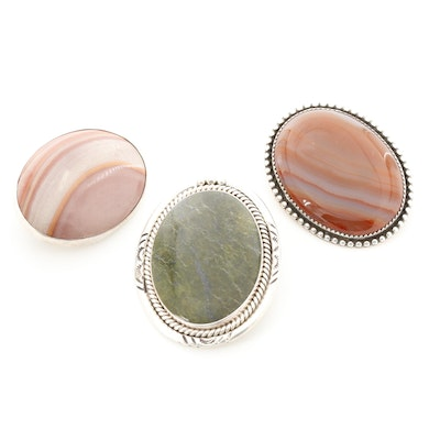 Sterling Silver Jasper, Agate and Serpentine Converter Brooches