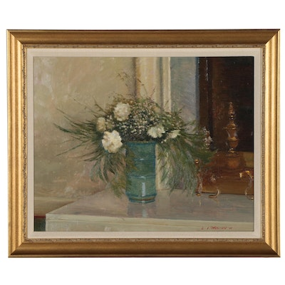 "Edmond Fitzgerald Still Life Oil Painting ""Summer Hearth"""