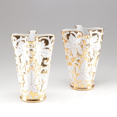 Mid-Century Italian Ceramic Vases with White and Gold Floral Design
