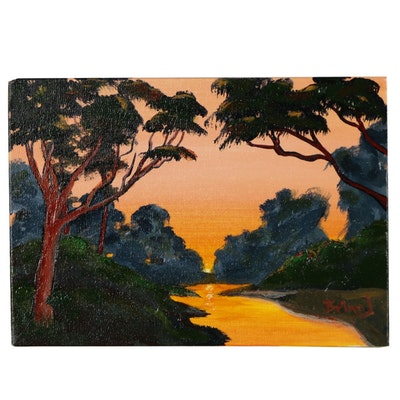 "Brian Johnpeer Landscape Acrylic Painting ""Sunset"""