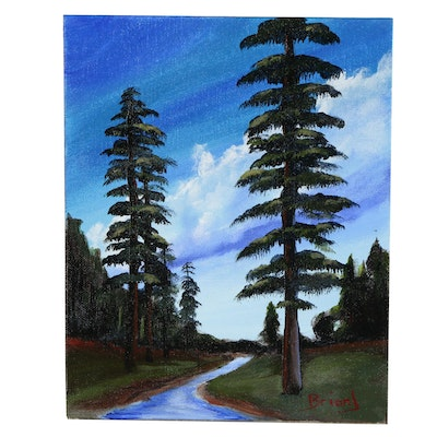 "Brian Johnpeer Landscape Acrylic Painting ""Redwoods"""