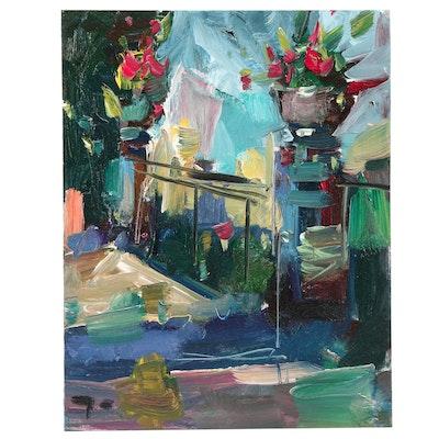 "Jose Trujillo Oil Painting ""Regal Plants"""