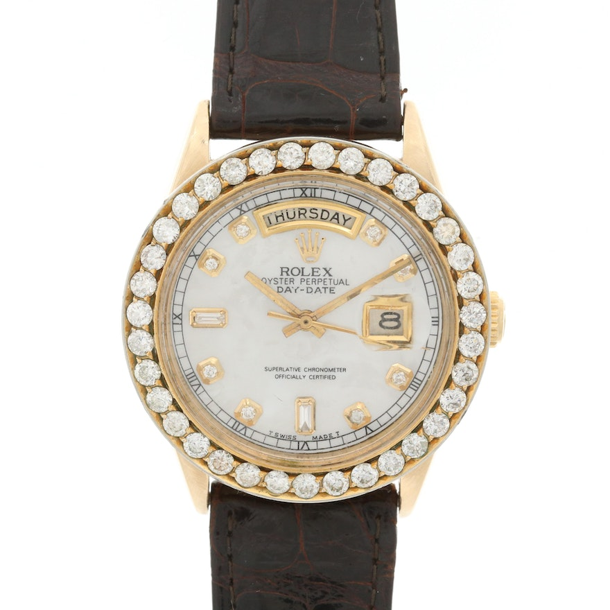 Rolex 3.00 CTW Diamond and 18K Gold Day-Date Automatic Wristwatch