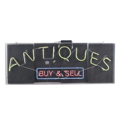 "Monumental Commercial ""Antiques"" Neon Sign"