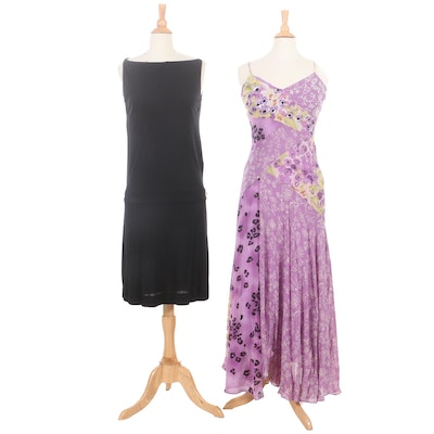 Bottega Veneta Black Drop Waist Dress and Nicole Miller Purple Floral Silk Dress