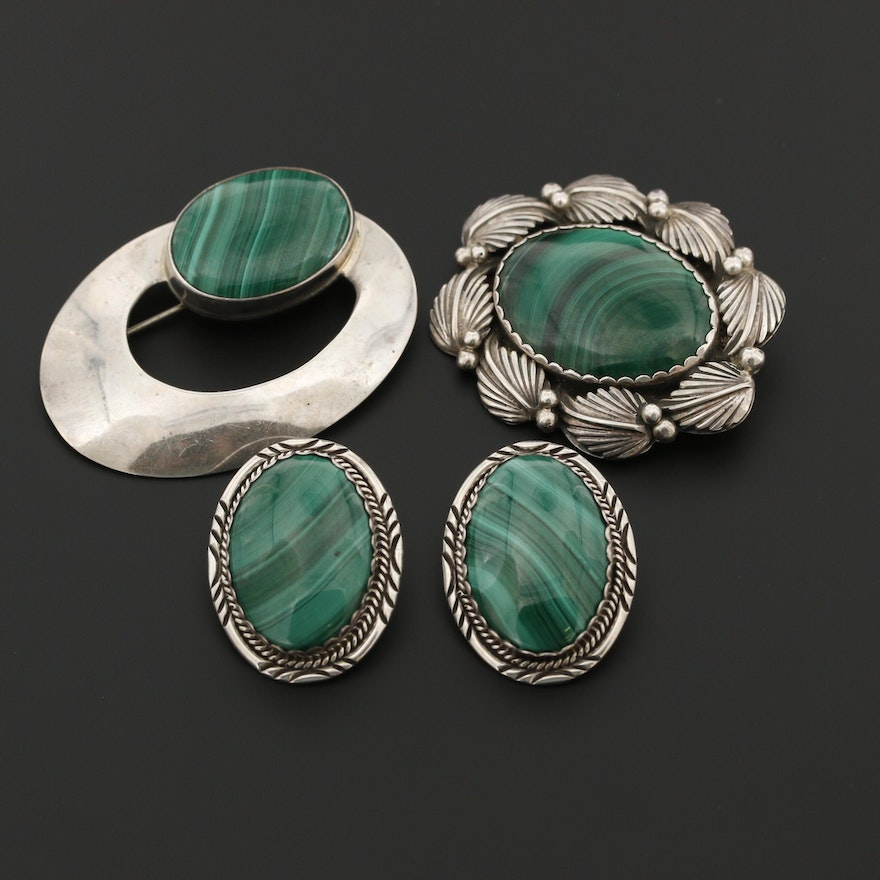 Vintage Southwestern Style Sterling Silver Malachite Jewelry Assortment