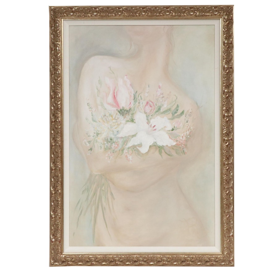 Figurative with Floral Oil Painting