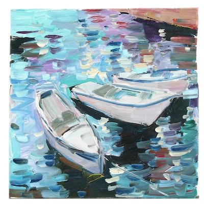"Jose Trujillo Oil Painting ""Row Boats"""