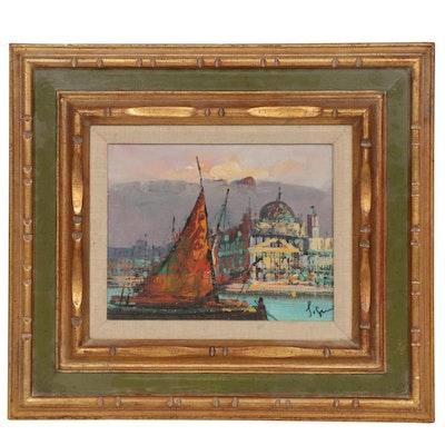 Impressionist Style Coastal Scene Oil Painting