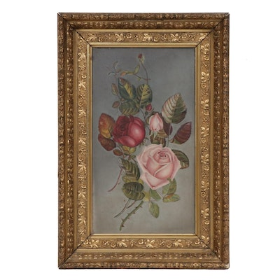 Still Life with Roses Oil Painting, Early 20th Century