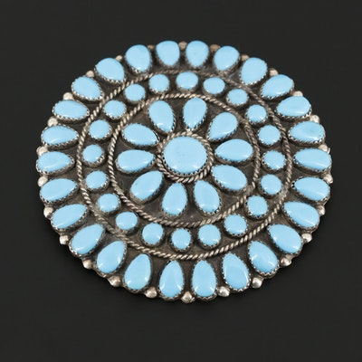 Southwestern Style Sterling Silver Turquoise Brooch