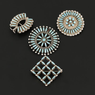 Vintage Sterling Silver Needlepoint Turquoise Brooches Including Native American