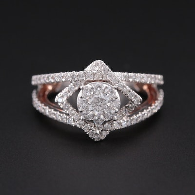 14K White Gold 1.27 CTW Diamond Ring with Rose Gold Accents
