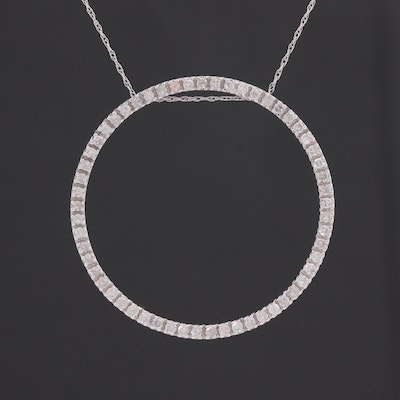 10K White Gold 1.00 CTW Diamond Pendant Necklace