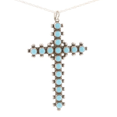 Southwestern Style Bell Trading Co. Sterling Silver Turquoise Cross Necklace