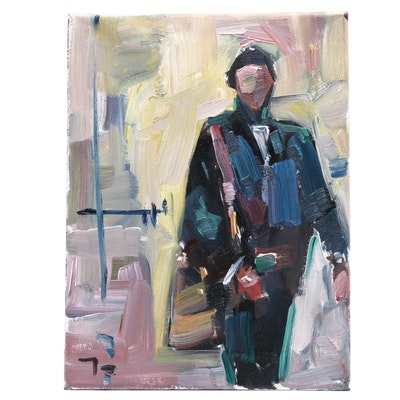 "Jose Trujillo Oil Painting ""Leaving"""