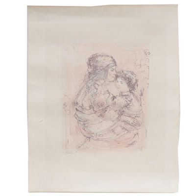 "Edna Hibel Lithograph ""Mother and Child"""