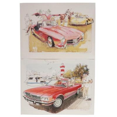 Offset Lithographs After Ken Dallison Mercedes-Benz Illustrations