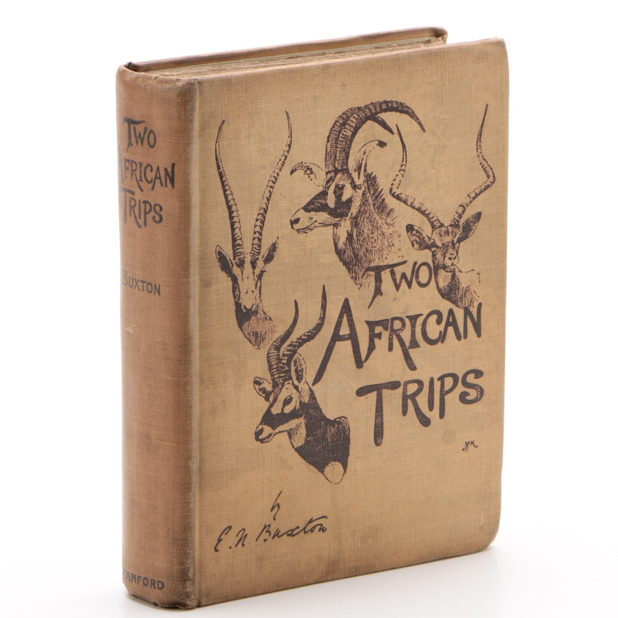 """1902 First Edition """"Two African Trips"""" by Edward N. Buxton with Map"""