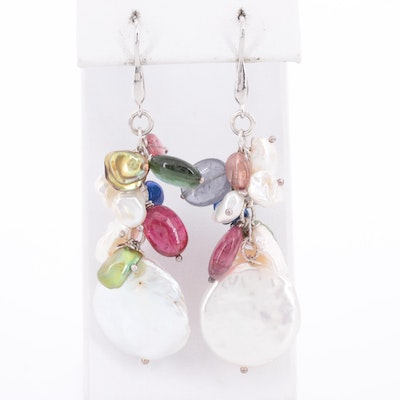 Sterling Silver Cultured Pearl and Tourmaline Drop Earrings