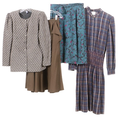Emanuel Ungaro Jacket, Skirts and Krizia Plaid Dress, 1980s Vintage