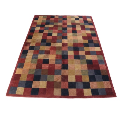7'7 x 10'10 Hand-Knotted Indo-Persian Mid-Century Modern Style Gabbeh Rug