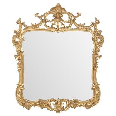 Rococo Style Gold-Painted Wood Framed Mirror