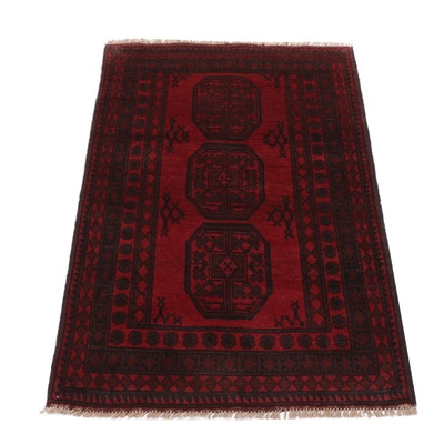 3'5 x 5'0 Hand-Knotted Afghani Turkoman Rug