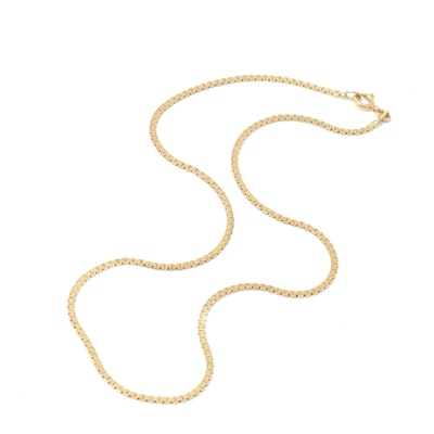 18K Yellow Gold Fancy Link Necklace, Vintage