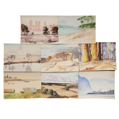 Charles Frederick Wiley Landscape Watercolor Paintings
