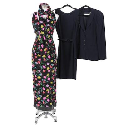 Dana Buchman Dress Suit and Floral Silk Sleeveless Dress