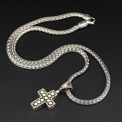 "John Hardy Sterling Classic Chain Necklace and ""Dot"" Cross Pendant with 18K Gold"
