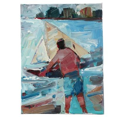 """Jose Trujillo Oil Painting """"Boy and His Sailboat"""""""
