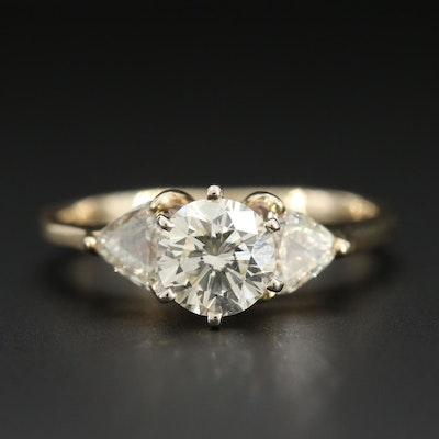 14K Yellow Gold 1.11 CTW Diamond Ring with GIA Report