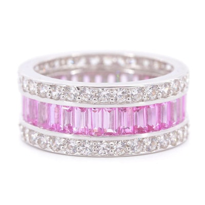 14K White Gold Pink Sapphire and Cubic Zirconia Eternity Band