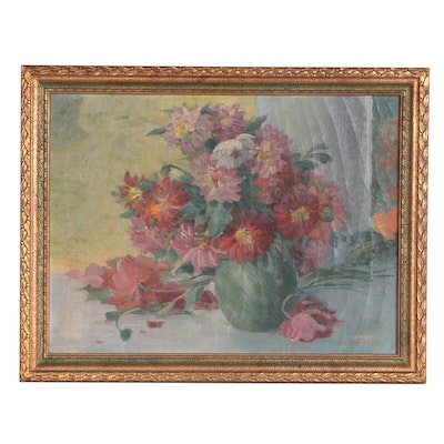 George Debereiner Oil Painting of Floral Still Life