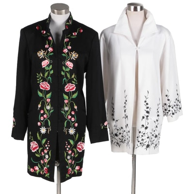 Victor Costa Occasion Jackets With Floral Embroidery
