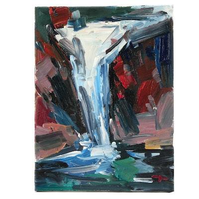 "Jose Trujillo Oil Painting ""The Waterfall"""