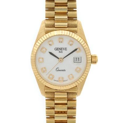 Geneve 18K Gold and Diamond Quartz Wristwatch