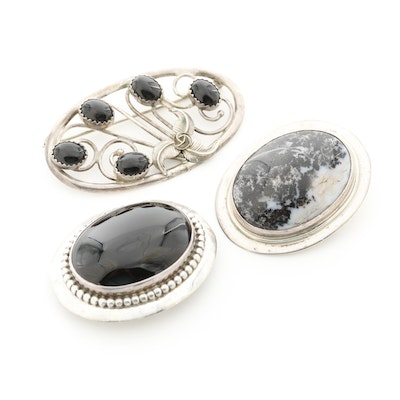 Southwestern Style Sterling Silver Agate and Black Onyx Brooch Assortment