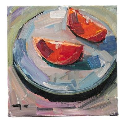 "Jose Trujillo Oil Painting ""Orange Slices"""