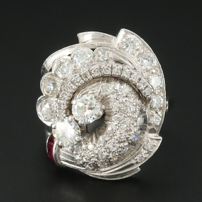 Vintage Platinum 1.84 CTW Diamond and Ruby Ring