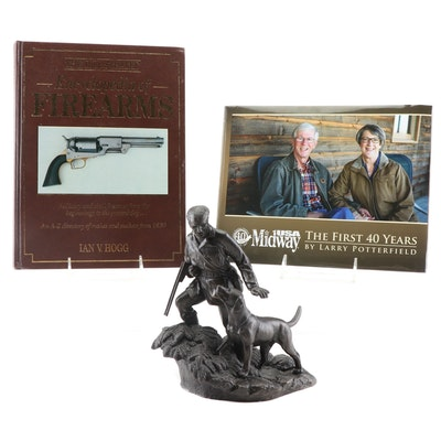 "Genesis Heredities ""Out with a Gun"" Bronze Tone Sculpture and Firearm Books"