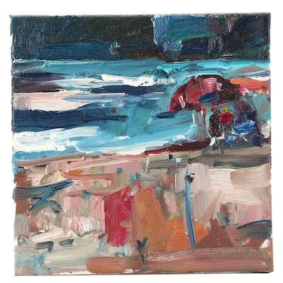 "Jose Trujillo Oil Painting ""Family Beach"""