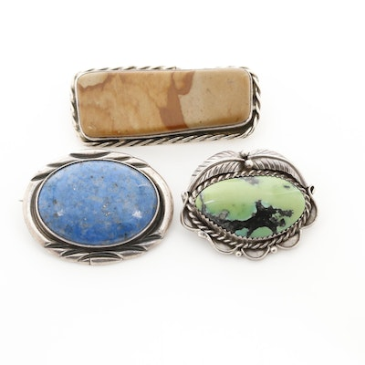Southwestern Style Sterling Silver Jasper, Lapis Lazuli and Turquoise Brooches