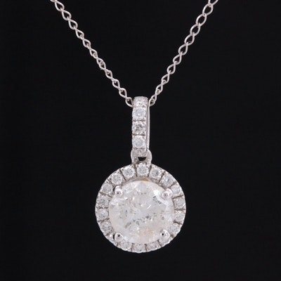 14K White Gold 1.18 CTW Diamond Pendant Necklace