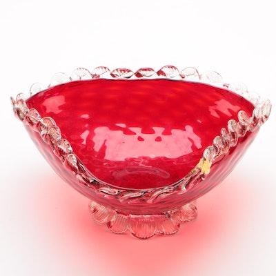 Murano Venetian Ruby Red and Aventurine Art Glass Bowl, Mid-Century