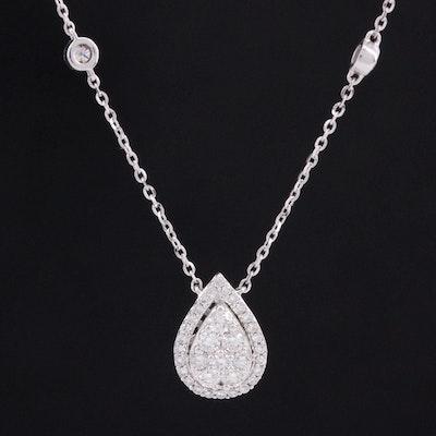 14K White Gold Diamond Adjustable Necklace